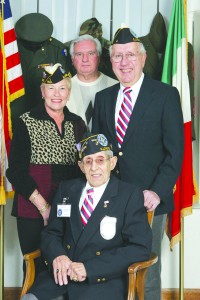 Chairman Anthony Fornelli (center) and co-chairs Marge Porcelli and Chuck Mascari (left and right) welcome Silver Star recipient John Del Medico to Casa Italia, which will serve as the site of the fledgling Italian American Veterans Museum.